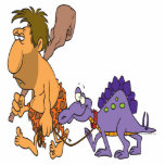 funny caveman and pet dinosaur photo cut out