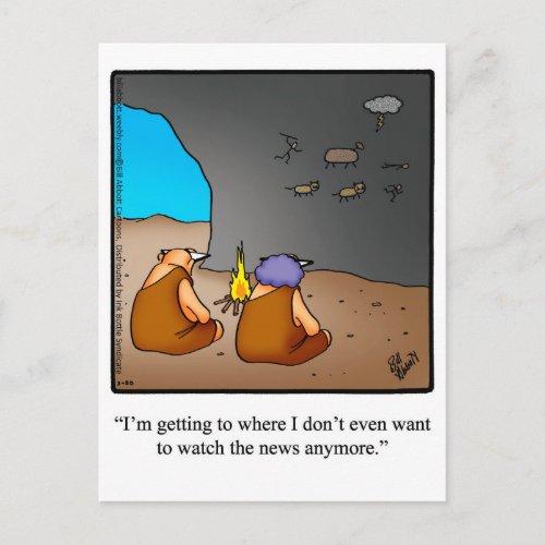 Funny Caveman News Humor Postcard