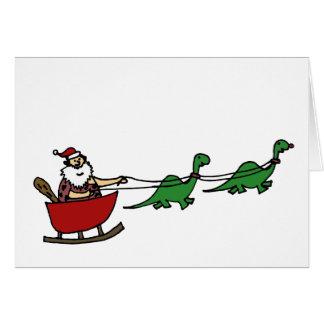 Funny Caveman Santa Claus Card