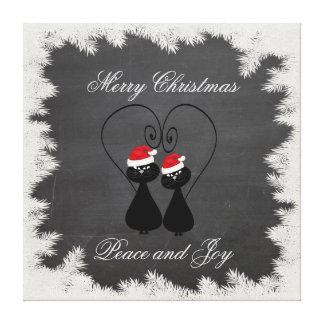 Funny chalkboard Santa cat in love Canvas Print