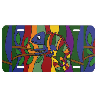 Funny Chameleon Art Abstract License Plate