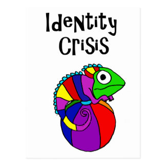 Funny Chameleon on Beach Ball Identity Crisis Postcard