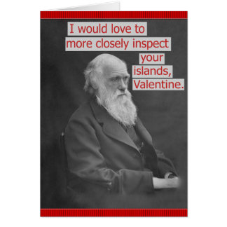 Funny Charles Darwin Valentine's Day Personalized Greeting Card