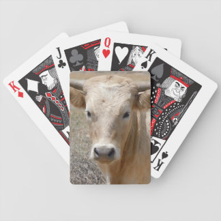 Funny Charolais Cows Cattle Face - Western Bicycle Poker Cards