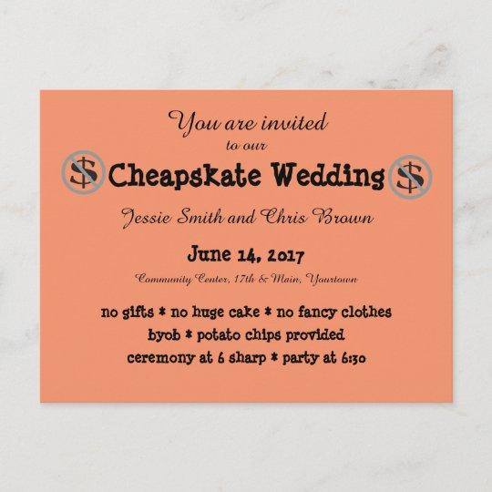 Funny Wedding Invite: Funny Cheapskate Wedding Invitation