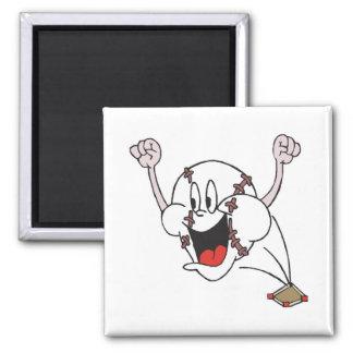 funny cheering homerun baseball cartoon 2 inch square magnet