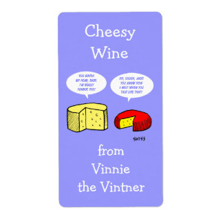 Funny Cheese Cartoon Personalized Wine Labels