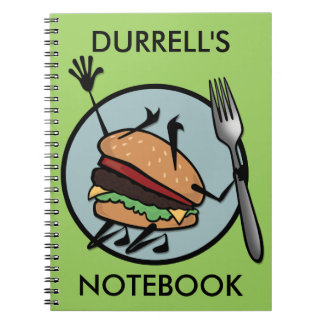 FUNNY CHEESEBURGER PERSONALIZED SPIRAL NOTEBOOKS