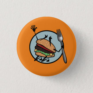 FUNNY CHEESEBURGER ROUND PIN BACK BUTTON