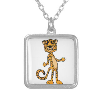 Funny Cheetah Cartoon Animal Silver Plated Necklace