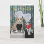 "Funny Chef Cats Birthday Card<br><div class=""desc"">Customizable funny Chef Cats birthday card.  Outside: &quot;We&#39;re cooking up something SPECIAL for your Birthday!&quot;  Inside: &quot;How does Mice-A-Roni sound?&quot;  You can customize the text,  the fonts,  and the colors of the fonts.  Here is another version:</div>"