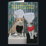 """Funny Chef Cats Birthday Card<br><div class=""""desc"""">Customizable funny Chef Cats birthday card.  Outside: &quot;We&#39;re cooking up something SPECIAL for your Birthday!&quot;  Inside: &quot;How does Mice-A-Roni sound?&quot;  You can customize the text,  the fonts,  and the colors of the fonts.  Here is another version:</div>"""