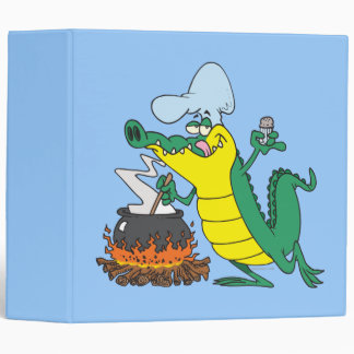 funny chef cooking gator alligator cartoon 3 ring binders