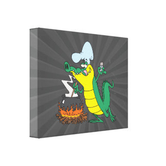 funny chef cooking gator alligator cartoon gallery wrap canvas