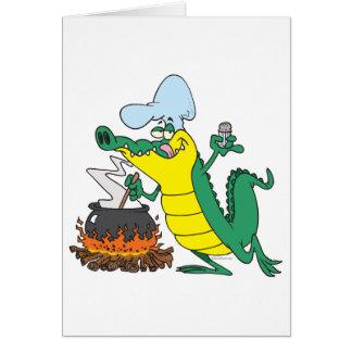 funny chef cooking gator alligator cartoon card