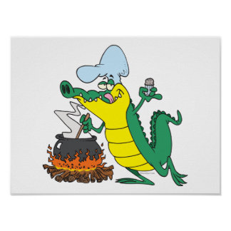 funny chef cooking gator alligator cartoon poster