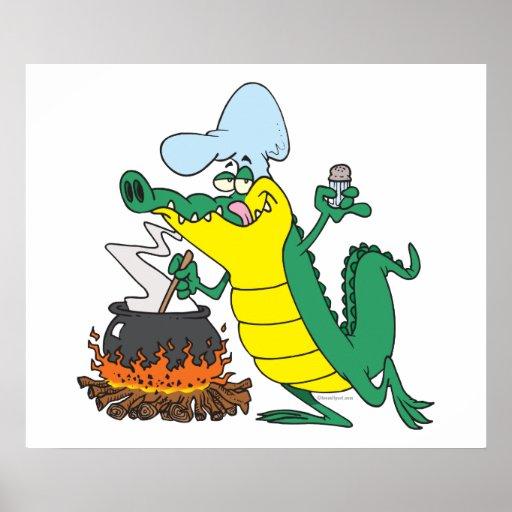 funny chef cooking gator alligator cartoon poster