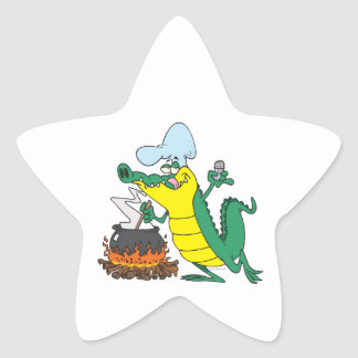 funny chef cooking gator alligator cartoon star sticker