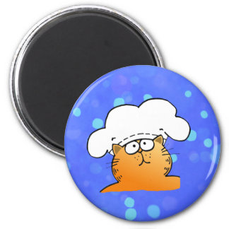 Funny Chef | Funny cartoon Kitty Chef 2 Inch Round Magnet