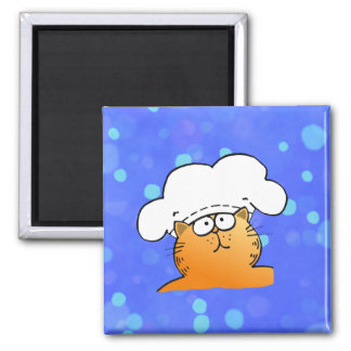 Funny Chef | Funny cartoon Kitty Chef 2 Inch Square Magnet