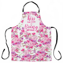 Funny chef quote pink floral watercolor apron
