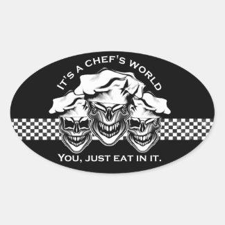 Funny Chef Skull Trio: It's a Chef's World Oval Sticker