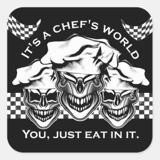 Funny Chef Skull Trio: It's a Chef's World Square Sticker