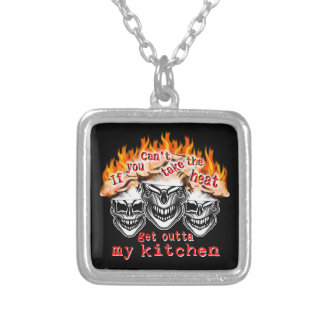 Funny Chef Skulls: If you can't take the heat... Silver Plated Necklace