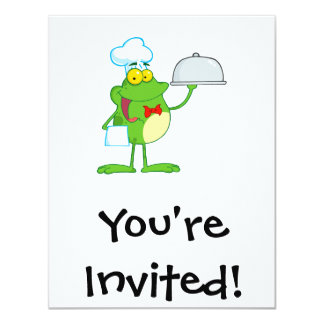 funny chef waiter froggy frog serving food card
