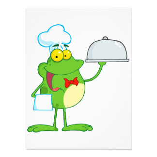funny chef waiter froggy frog serving food announcements