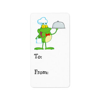 funny chef waiter froggy frog serving food label