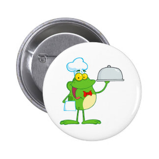 funny chef waiter froggy frog serving food pinback button