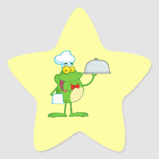 funny chef waiter froggy frog serving food star sticker