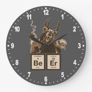 Funny chemistry bear discovered beer large clock