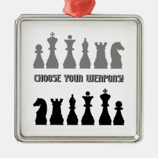funny chess square metal christmas ornament