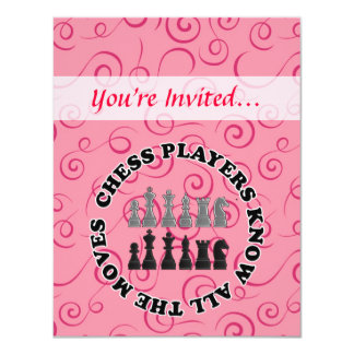 Funny Chess Players Know All the Moves 4.25x5.5 Paper Invitation Card