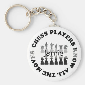 Funny Chess Players Know All the Moves Key Fob Basic Round Button Keychain