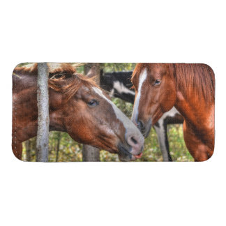 Funny Chestnut Stallion & Mare in a Forest Photo iPhone 5 Pouch