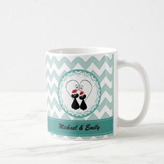 Funny Chevron Christmas cat couple personalized Coffee Mug