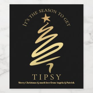 Funny Chic Black and Gold Christmas Wine Label