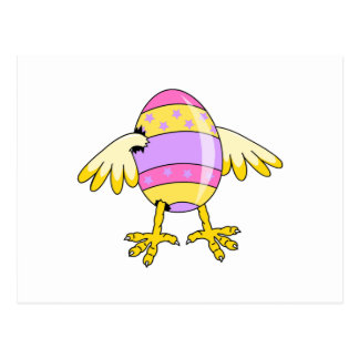 funny chick easter egg postcard