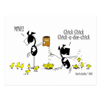 Funny Chick & Horse Cartoon Postcard