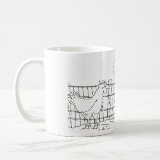 Funny chicken and egg cartoon mug. coffee mug