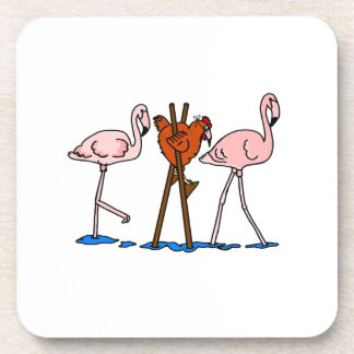 Funny Chicken and Flamingos Drink Coaster
