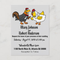 Funny Chicken Bride and Groom Wedding Invitation