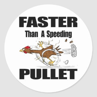 Funny chicken cartoon classic round sticker