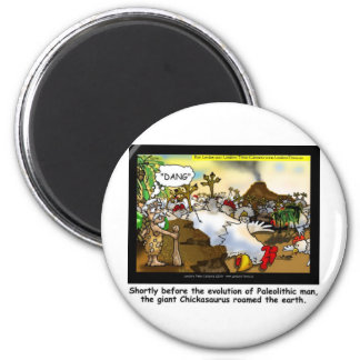 Funny Chicken (Chickasaurus) Tees Mugs Cards Etc 2 Inch Round Magnet