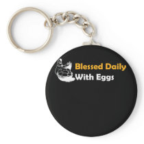 Funny Chicken Design Blessed Daily Keychain