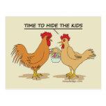Funny Chicken Easter Egg Hunt Cartoon Postcard