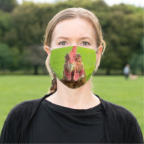 Funny Chicken Farm Animal on Green Cloth Face Mask
